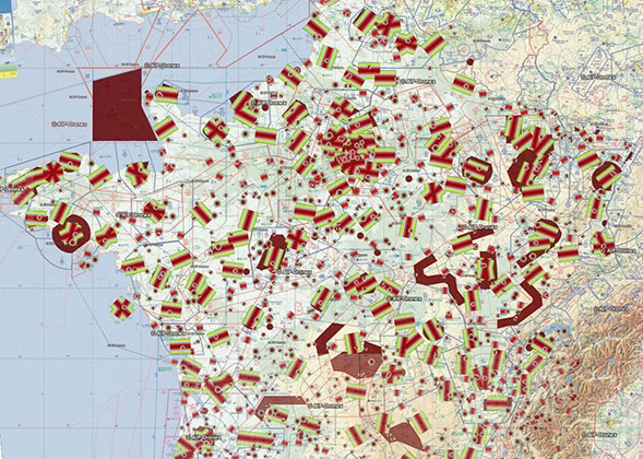 Carte de l'espace aérien pour les drones
