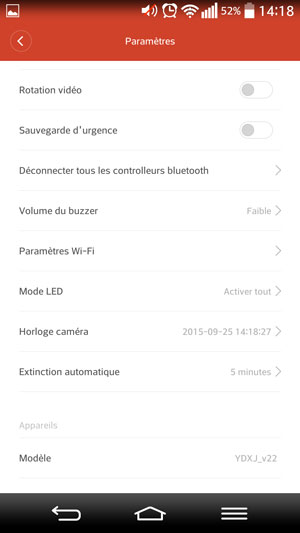 Paramètres généraux de la caméra Xiaomi Yi Cam