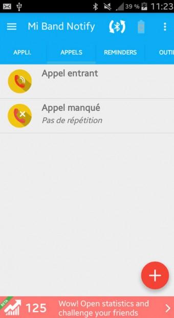 Xiaomi MiBand app Mi Band Notify V2 appels entrant