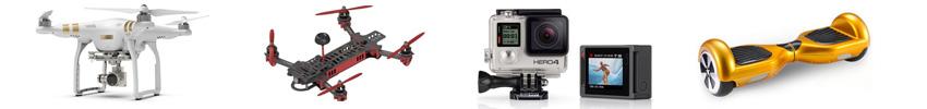 Les gammes drones, caméras, FPV et gyropodes.