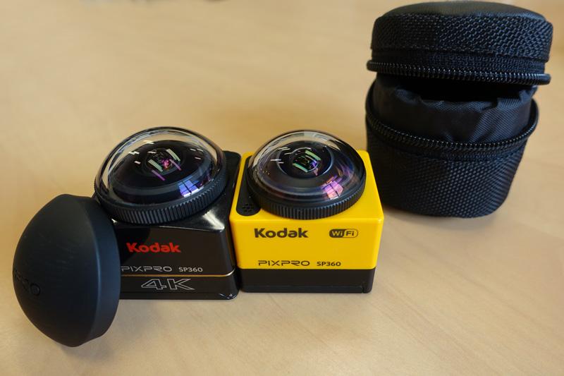 Caméras Kodak SP360 et SP360 4K avec pochette et protection de lentille