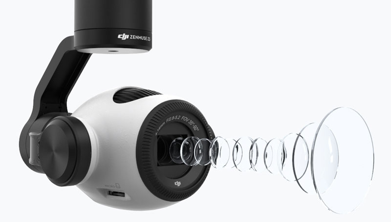 Nacelle caméra Zenmuse Z3 équipée d'un zoom