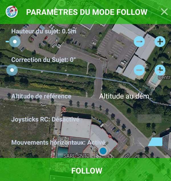 Paramètres d'altitude du mode Follow de Litchi
