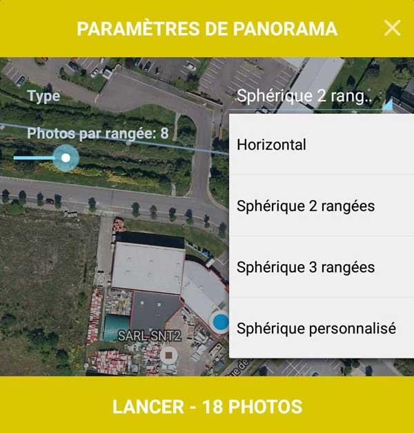 Paramètres du mode panorama