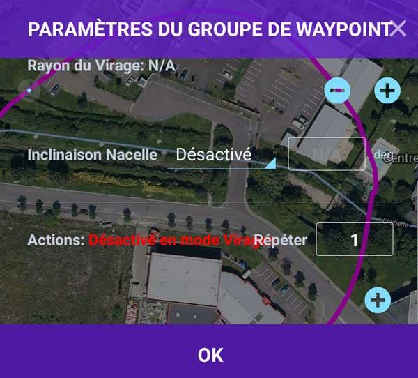 Paramètres et actions groupe de Waypoint