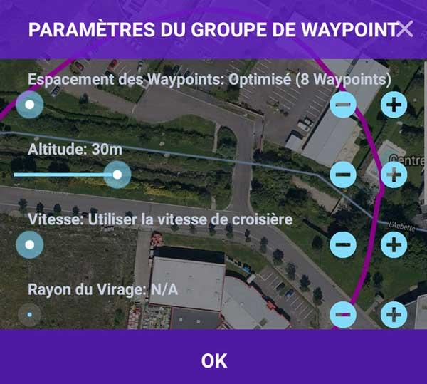 Paramètres du groupe de Waypoint