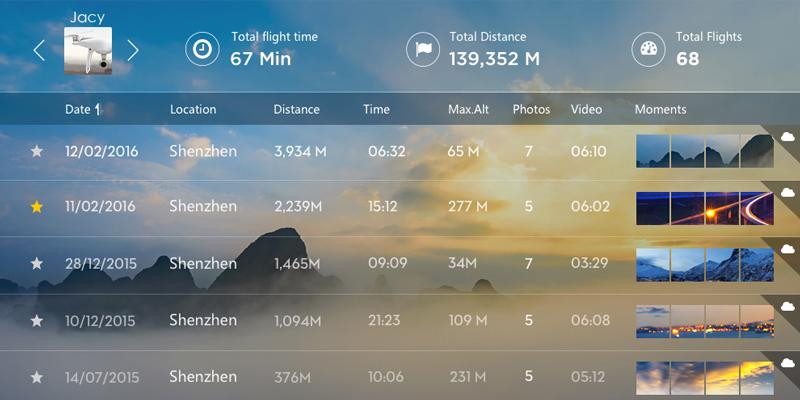 Enregistrement des données de vol dans l'application DJI GO