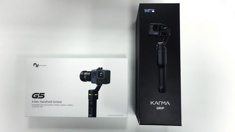 Comparatif des packaging des GoPro Karma Grip et Feiyu G5