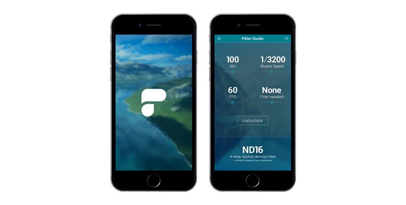 Application PolarPro Filter Calculator pour filtre nd