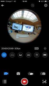Capture d'écran des modes de la SJ360