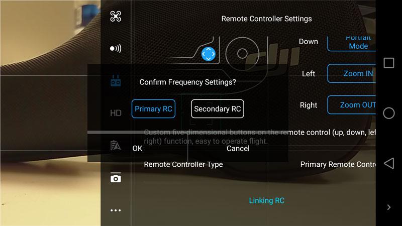 DJI GO 4 choix d'une radiocommande primaire ou secondaire