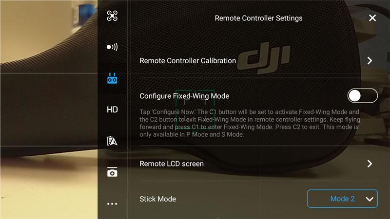 DJI GO 4 menu radiocommande
