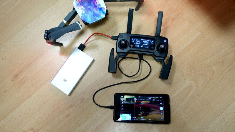 Branchement batterie externe sur radiocommande DJI Mavic Pro