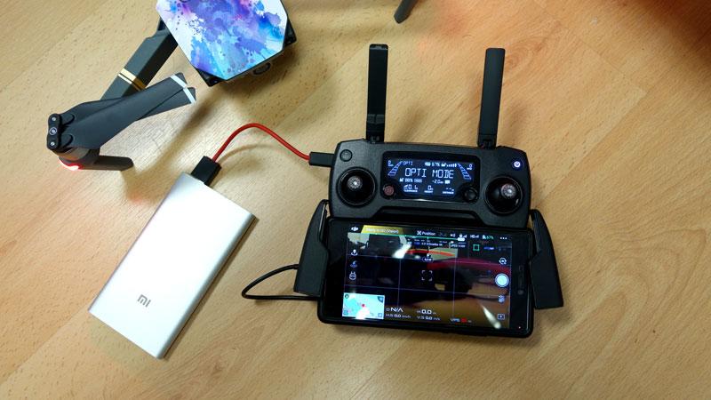 DJI Mavic Pro avec batterie externe supplémentaire