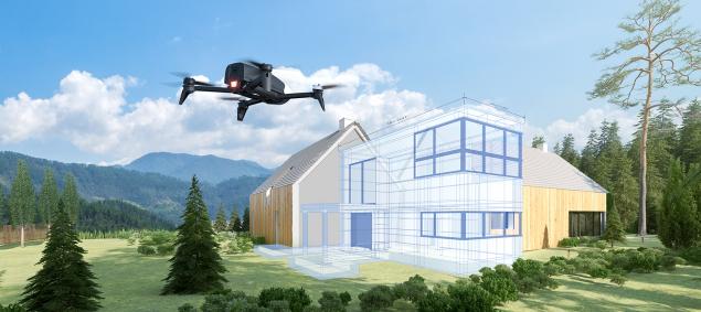 Exemple Bebop 2 de Parrot inspection bâtiment 3D modeling