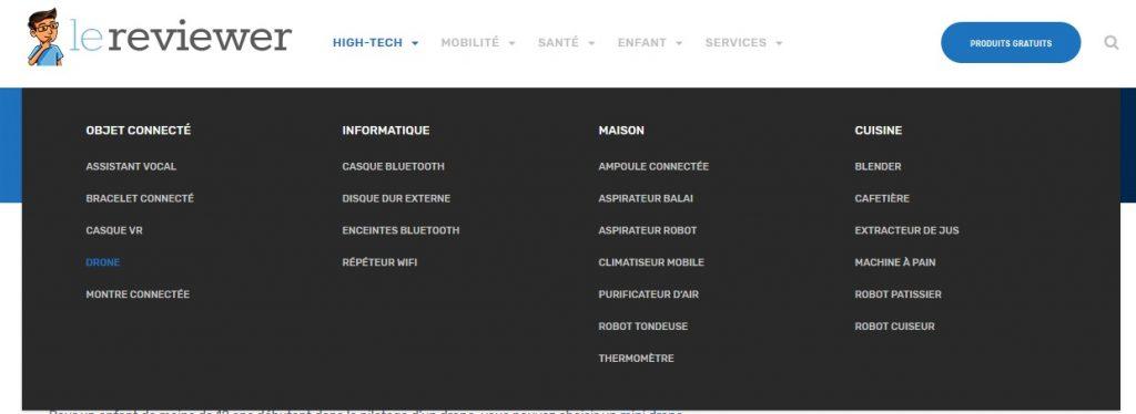 LeReviewer catégories disponibles dans la rubrique High Tech
