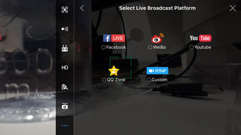 DJI Live sur les réseaux sociaux