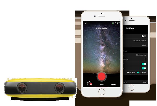 Application iOS et Android Vuze caméra 360
