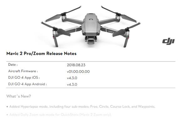 MAJ DJI Mavic 2 Pro et Zoom