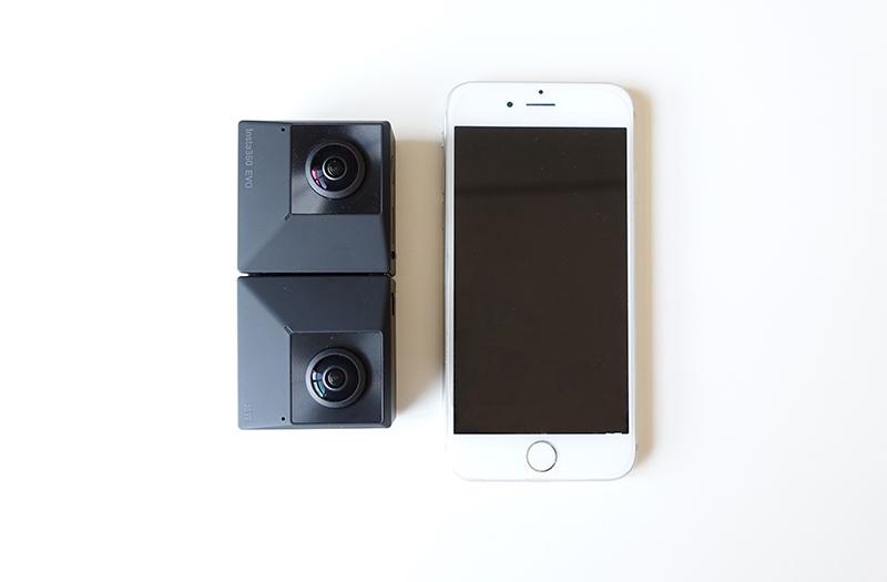 Comparatif taille Insta360 EVO et iPhone 6S