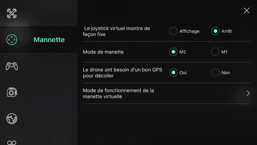 Capture d'écran application Hubsan-X