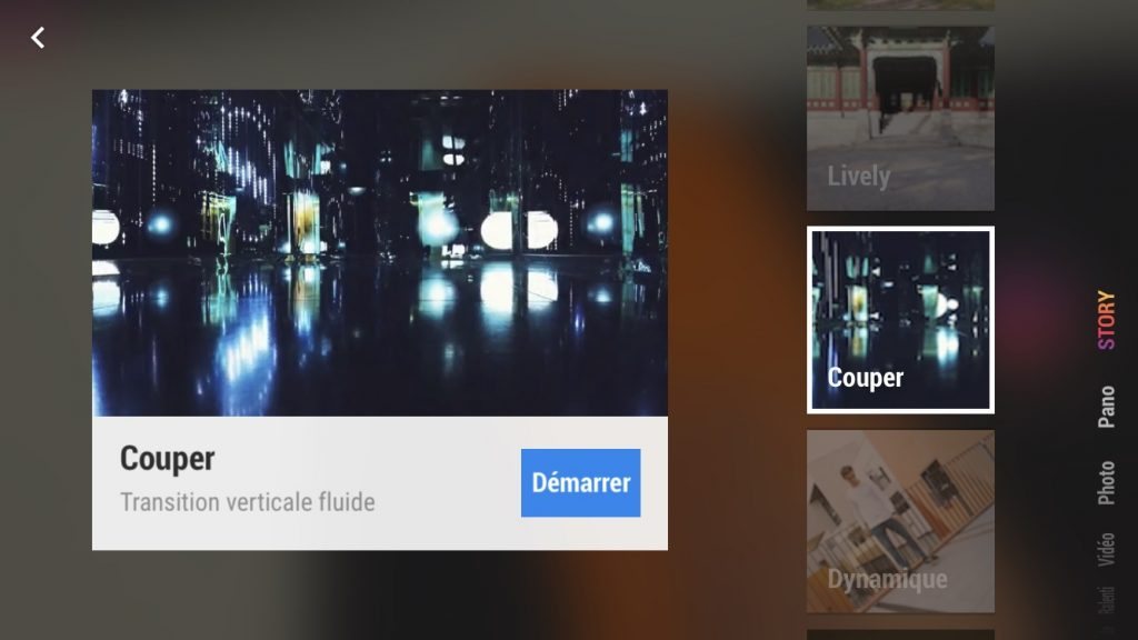 Capture d'écran de l'application DJI Mimo