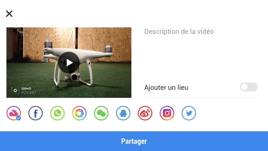 Capture d'écran de l'application DJI Mimo, mode Story