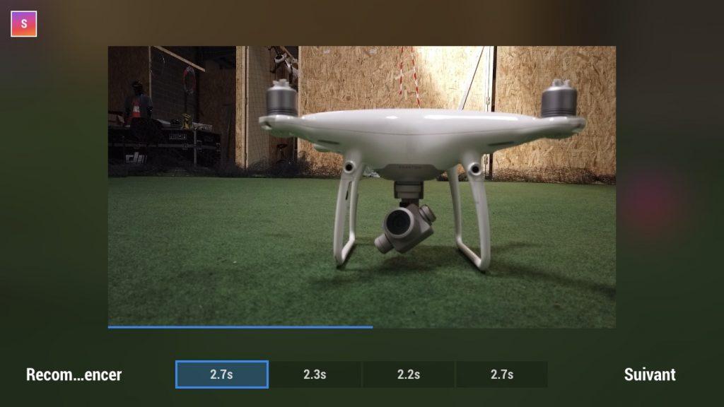 Capture d'écran de l'application DJI Mimo, mode Story