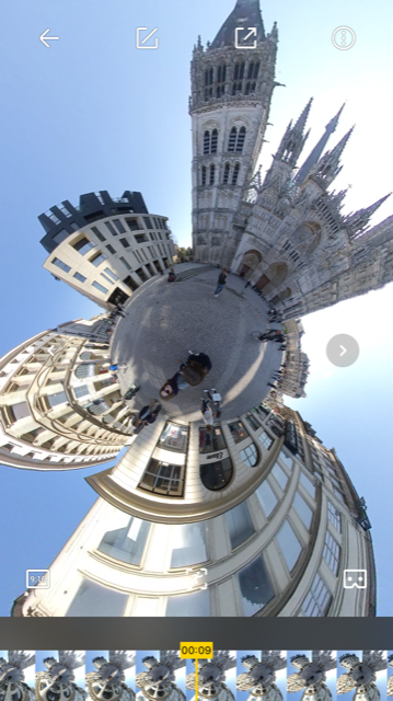 Vue de l'application de la caméra Insta360 EVO