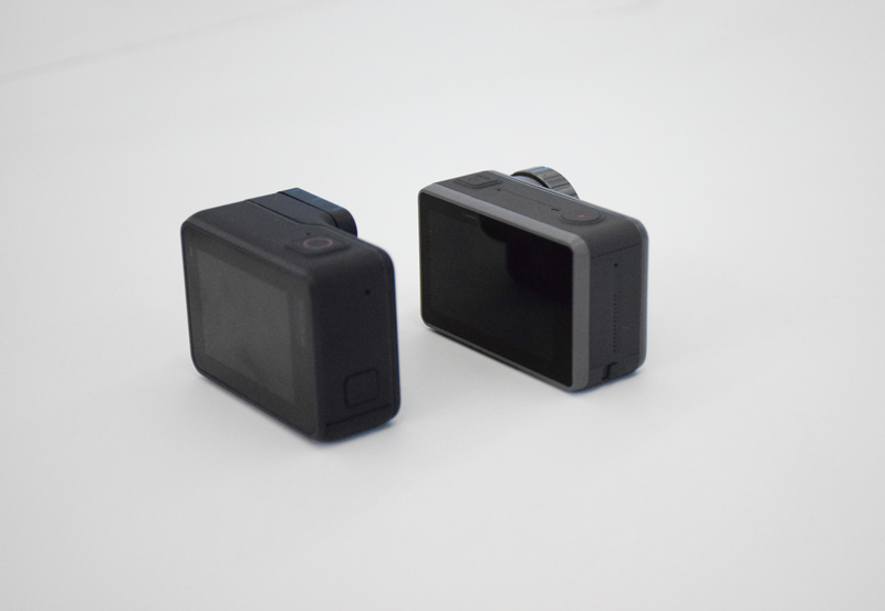 GoPro Hero 7 Black et DJI Osmo Action de dos