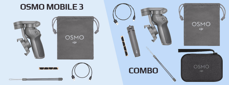 Comparatif contenu Osmo Mobile 3 : pack simple et combo
