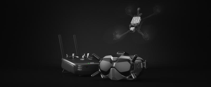 Éléments du système DJI FPV : radiocommande, air unit et casque