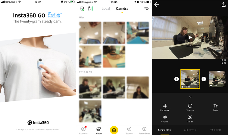 Application mobile pour Insta360 GO
