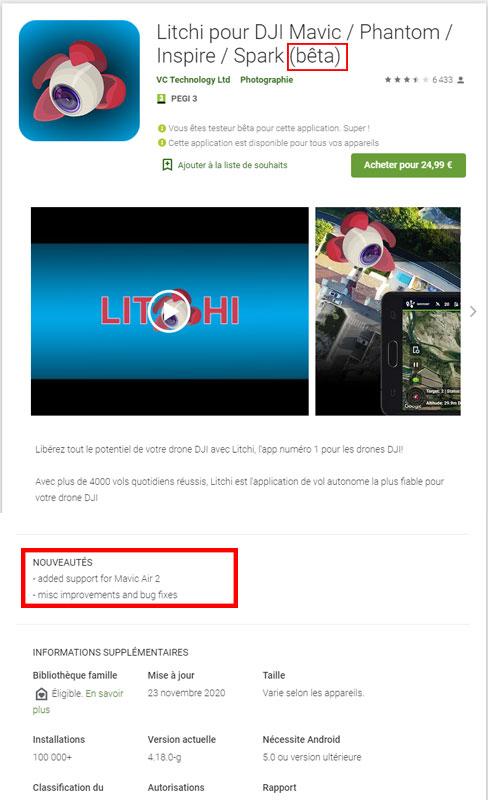 Application Litchi pour DJI Mavic Air 2