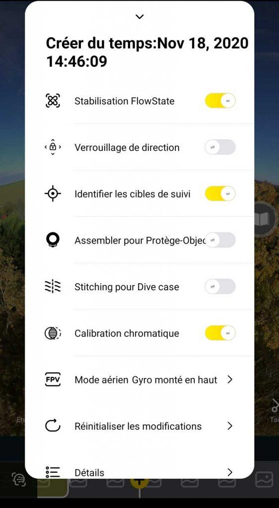 Application Insta360 options