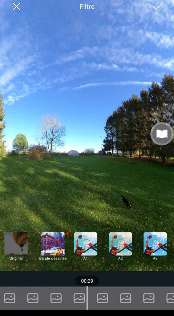 Application Insta360 filtres