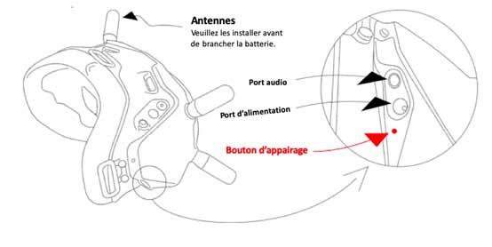 Bouton appairage casque DJI FPV V2