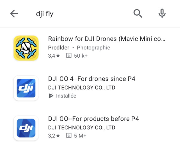 DJI fly introuvable android google play store