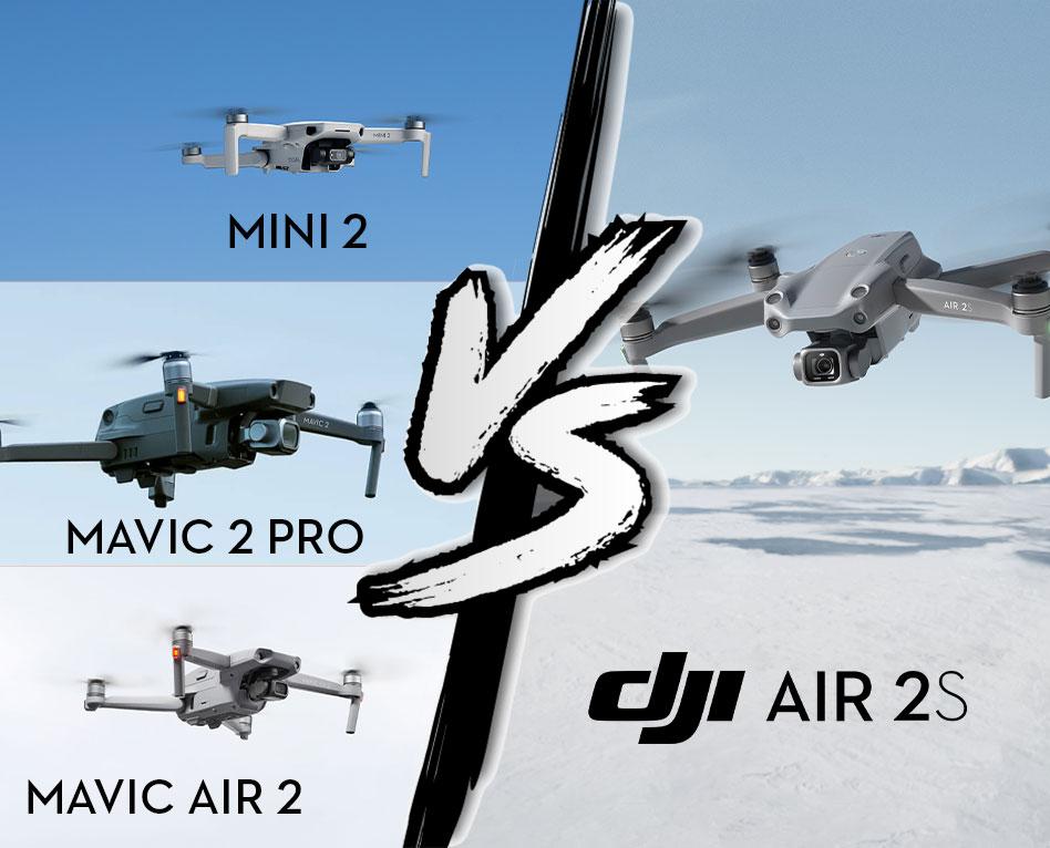 Comparatif technique DJI Air 2S, DJI Mavic Air 2, DJI Mavic 2 Pro et DJI Mini 2
