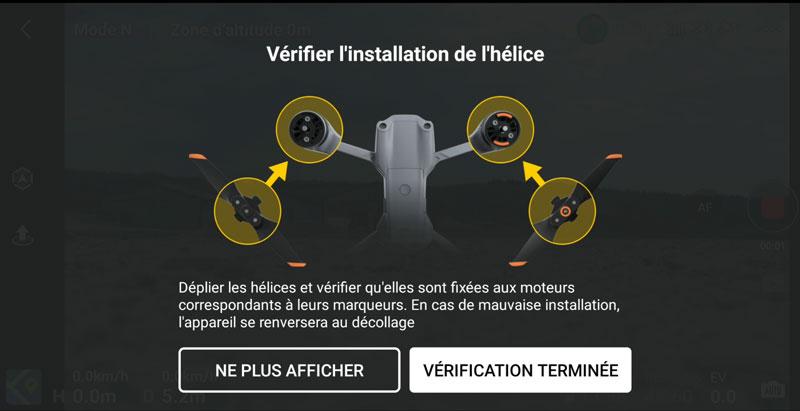 Vérification hélices DJI Air 2S